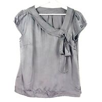 CUE Women's Size 10 Grey Asymetrical V-Neck Bow Short Sleeve Side Zip Blouse Top