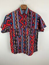 Vintage Wrangler Mens Shirt M Medium Multicolor Aztec Southwest Short Sleeve