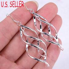 """Ladies 925 Sterling Silver Fashion Twist 2.5"""" Dangle Drop Earrings Jewelry G052"""
