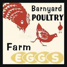 "RETRO SERIES - BARNYARD POULTRY-FARM EGGS - ART PRINT POSTER 12"" x 12"" (1130)"