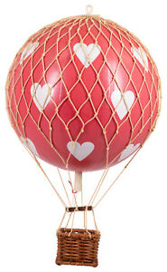 """Small Valentine's Day Red Hearts Hot Air Balloon Model 3"""" Aviation Decor Gift"""