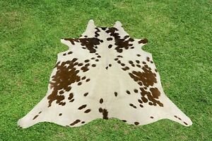 X Small Cowhide Rug Brown Real Hair on Cow Hide Skin Area Accent Rugs 4 x 4 ft