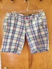 Billabong JOSIE Indigo Green Navy Striped 100/% Cotton Junior/'s Bermuda Shorts