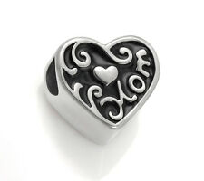 Stainless Steel Love Mom European Bead Heart Charm For European Charm Bracelets