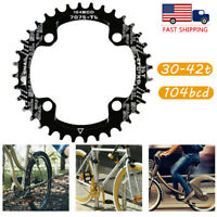 US 30-42t 104bcd MTB Road Bike Narrow Wide Single Chainring Crankset Sprockets