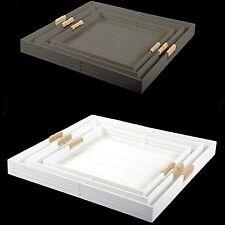 Bandeja Para Servir Blanco / Gris topo Tableta decorativa madera con asas