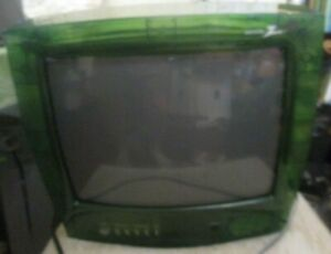 "13"" Zenith Green Clear see through Prison Tv H13E05LG Jail Retro Gaming"