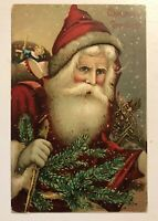 SANTA CLAUS with Toys~Pine Branches~Antique Christmas Postcard-b49