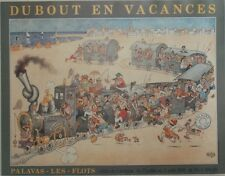"""""""DUBOUT EN VACANCES"""" Affiche originale entoilée offset 1982 58x74cm"""