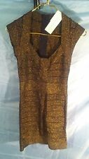 French Connection Danni Black w/ Metallic Bronze Bandage Dress sz 6 NWT