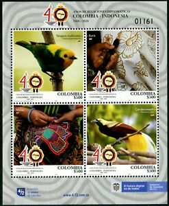 COLOMBIA 2020 DIPLOMATIC RELATIONS INDONESIA JOINT ISSUE SOUVENIR SHEET IN MINT