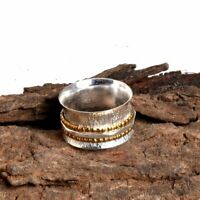 Solid 925 Sterling Silver Spinner Ring Meditation ring statement ring Size 0008.