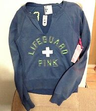 PINK Blue Sweat Shirt Size Small S Lifeguard New Victoria Secret Pull Over