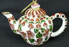 Cloisonne Gold Enamel Teapot Christmas Easter Ornament Roses Free Shipping