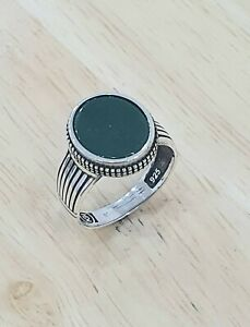 925 Sterling Silver Small Green Agate Stone Handmade Authentic Turkish Men Ring