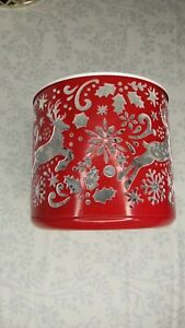 Bath & Body Works Christmas Scene Cutout Red 3-Wick Candle Holder Sleeve