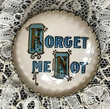 """Victorian FORGET ME NOT Glass Dome BUTTON 1 1/4"""" Vintage Floral Love Friendship"""