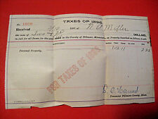 RARE ANTIQUE 1896 SIGNED FILLMORE COUNTY MINNESOTA LAND TAX HISTORICAL DOCUMENT