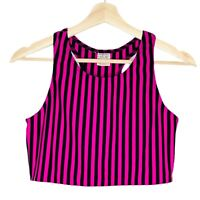 Vintage Edition Womens Pink and Black Striped Activewear Crop Tank Top Size L