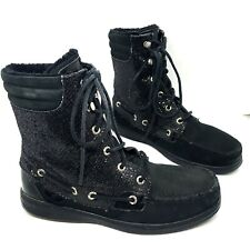 SPERRY Top-Sider HIKERFISH Black Boots | Distressed Look w/ Sparkle & Fur | 7.5