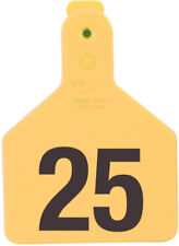 """Z-Tag Calf Tag Short Neck 2-3/8"""" W x 3-1/4"""" H Hot-Stamped #176-200 Yellow 25ct"""