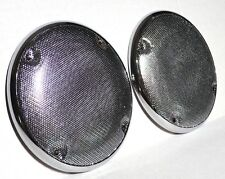 "Speaker covers(2) 5-7/16"" round cab ceiling chrome plastic metal screen Kenworth"