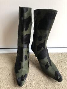 Jimmy Choo Calf Hair Mid Calf Boots - Size 371/2