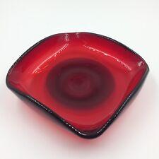 Hand blown art glass dish ruby red handmade artisan