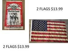 2 FLAGS BUDWEISER ADVERTISING FLAG BUTTWISER BEER BANNER NOVELTY USA WEATHERED