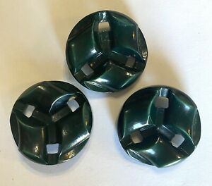 """Vintage Set Lot of 3 Large 1.5"""" Molded Celluloid Buttons Chunky Green Geometric"""