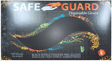 SafeGuard Black Nitrile Powder Free Gloves, (Size Large, TEXTURED FINGERTIPS)