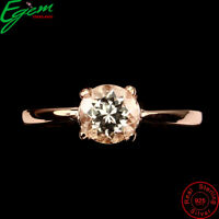 Round 6mm Pink Morganite 14k Rose Gold Plate 925 Sterling Silver Ring Size 6.5