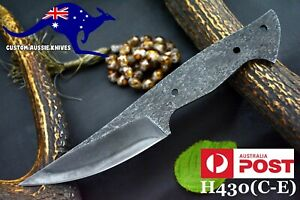 Custom Hammered 1095 Carbon Steel Blank Blade Hunting Knife,No Damascus (H430-D)