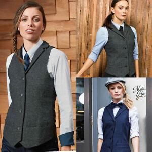 Premier Ladies Herringbone Waistcoat Wool Blend Tweed Formal Vest Collar Button