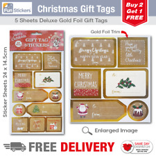Gold Foil Christmas Gift Tag Stickers 55 Pieces - 1707