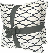 Threshold 2- Pack Set Decorative Trellis Navy Throw Toss Pillows 18in x 18in