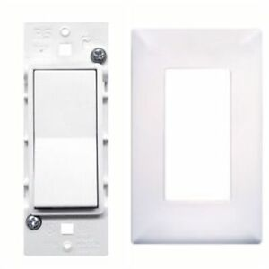 Pass & Seymour Mobile Home White Self-Contained Rocker Switch w/Snap On Plate