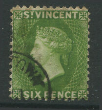 St. Vincent QV 1883 6d yellow green CDS used