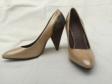 Bacio 61 Lucca Leather Stacked Heels Sultan Patent Gold Bronze Women Size 7M