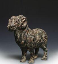 Espectacular Chino Antiguo Bronce Ware mítico Animales Cabra sacrificio marca QT015