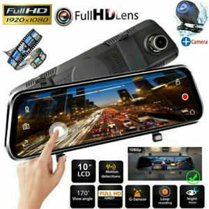 "10"" HD 1080P Dual Lens Car DVR Dash Cam Video Camera Recorder Rearview Mirror"