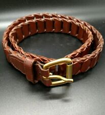 Women's Woven Leather Belt Brown Size 24 Gold Tone Buckle