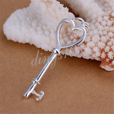 925 Sterling Silver Hypo-Allergenic Heart-Top Love Key Large Pendant H438