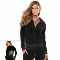 NWT Women's Juicy Couture Embellished Black Velour Hoodie Size X-Large MSRP $80