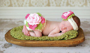 Newborn Infant Baby Crochet Floral Costume Photography Props Costume Outfits