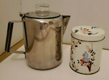 New listing Vintage Stainless Steel Stove Percolator Coffee Pot and Art Tin Set/ 2 Wholesale