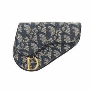 Christian Dior Torotter Coin Case Canvas Navy Saddle 90112512