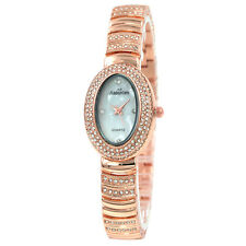Alias Kim Rose Gold Oval White Face Women's Crystal Bracelet Quartz Watch F226