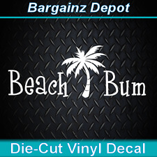 ..Vinyl Decal ... BEACH BUM ... With Palm Tree Awesome Car Laptop Decal Sticker
