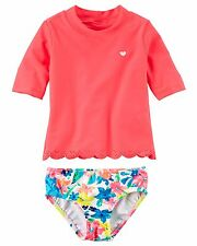 Carter's Baby Girl's 2PC Floral Scalloped Rashguard Tankini Set UPF 50+ 12M NWT